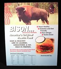 Bison Buffalo Meat Nutritional Information Restaurant Table Card Pack of 25