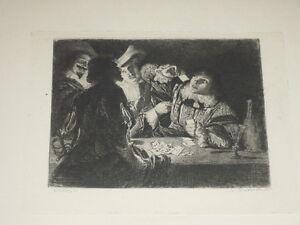 Adolphe-LALAUZE-VAN-HONTHORST-034-Partie-de-Cartes-034-Eau-Forte-Belle-epreuve-Verge