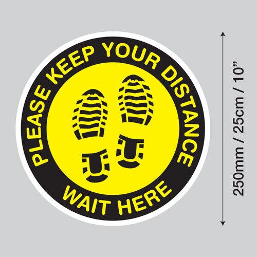 Veuillez garder vos Distances attendre ici étage Graphics Stickers social se