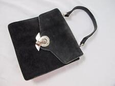 VINTAGE 1950's BLACK SUEDE & CHROME CLASP PURSE BAG HANDBAG