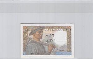 10 Francs Pit Worker 9.9.1943 R.55 N°136651934 Pick 99d
