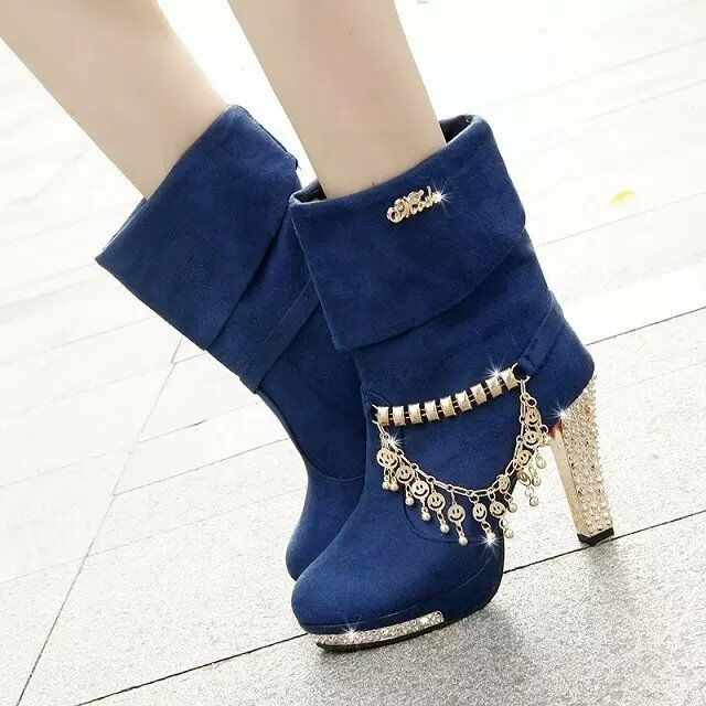 WOmen's Rhinestone high slim heels platform ankle boots sexy party shoes size 8