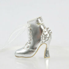 "Sherry Fashion Shoes Boots BJD Delilah Noir Ellowyne Wilde 16""Tonner Doll Silver"