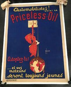 Priceless-Aceite-1930-Original-Art-Deco-Lino-Base-Automovil-Publicidad-Poster