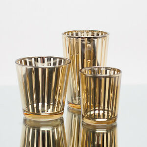 Richland Votive Candle Holder Gold Mercury Stripe Set of 12 Home & Event Decor
