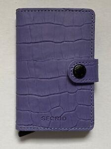 Checkbook money card purple Handmade Leather holder