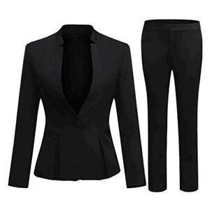 Women's Business Office 1 Button Blazer Jacket and Pants, Black, Size Medium 570