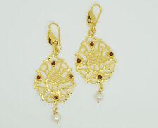 Ottomangems Semi joya preciosa piedra Pendientes De Oro Plateado Perla Jade Hecho A Mano
