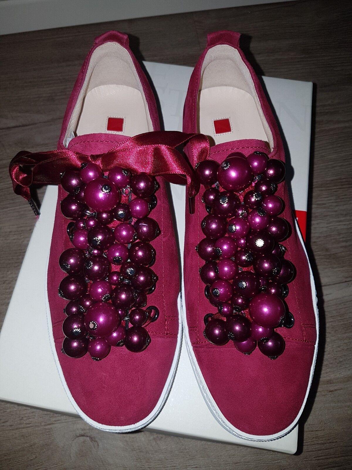 Högl Damen Sneaker pink/beerenton mit Perlen, Wildleder Gr. 36, NEU, NP 160 Euro