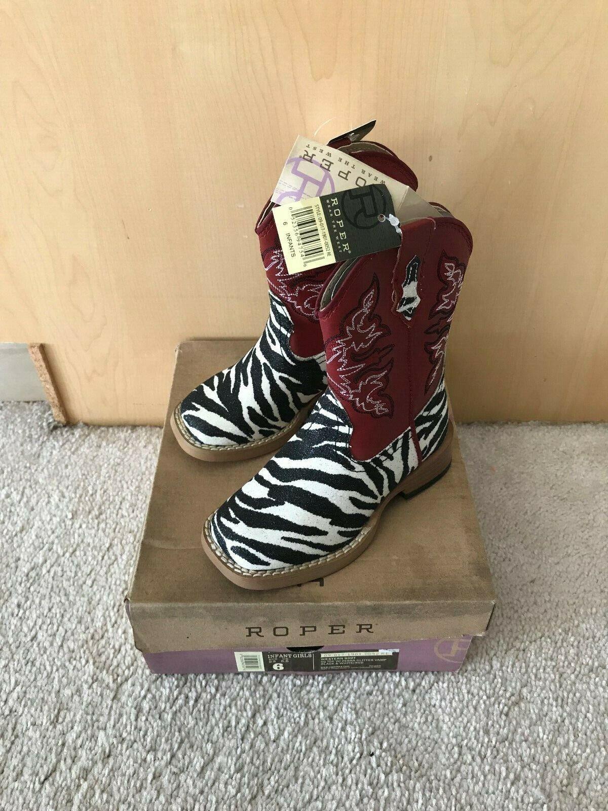 Roper Brillo Cebra Infantil Girl's Occidental botas Rojo Talla 6 Nuevo En Caja