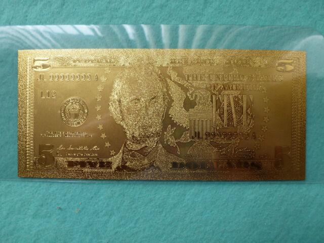 5-dollars bill-24 K Gold