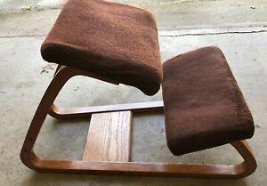 Vintage-British-Design-Corp-Bent-Oak-Wood-Brown-Kneeling-Chair-Ergonomic-Office