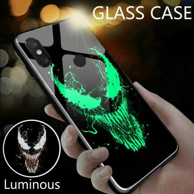 Venom Iron Man Luminous Vidrio teléfono caso para Xiaomi Mi 8 9 SE Lite 4X Redmi Note