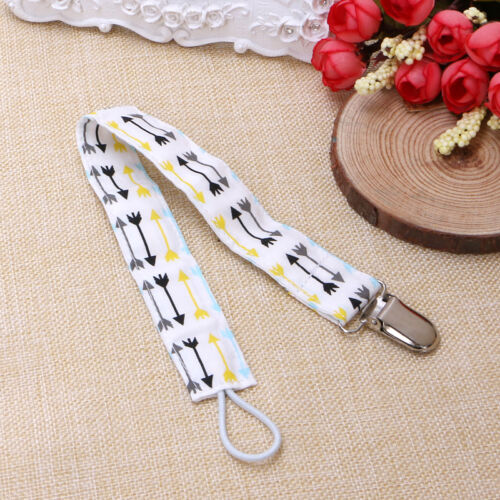 1pcs Baby Dummy Pacifier Soother Nipple 100/%Cotton Strap Chain Metal Clip Holder
