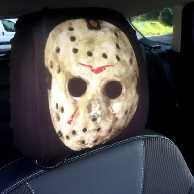 Horror Hockey Mask Design Car Seat Head Rest Covers Pack Of Two Halloween Ebay