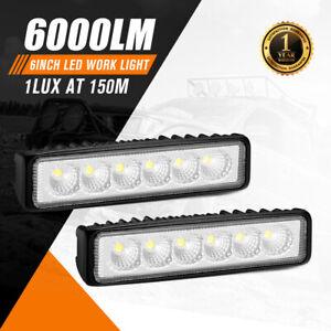 Pair 6inch LED Work Light Bar Flood Reverse Fog Lights 4wd
