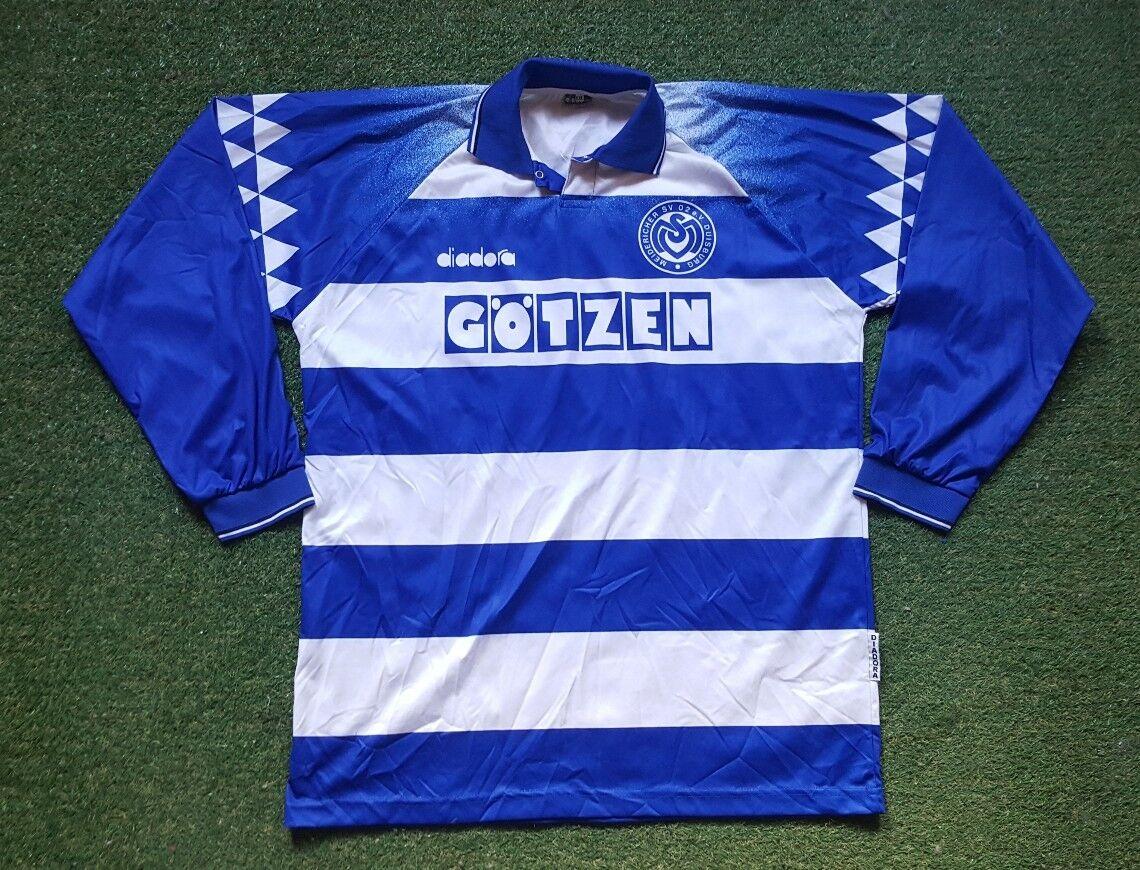 Msv Duisburg Maglia XXL 1994 1995 Diadora Calcio Shirt Calcio Jersey Götzen