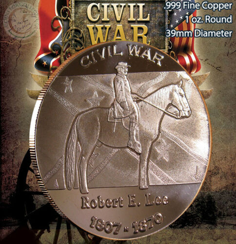"""/""""Civil War/"""" Series of 8 Rounds 1oz .999 Copper Rounds Beautiful rounds"""