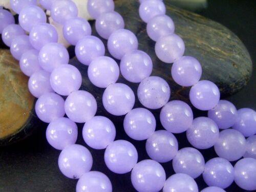 "Genuine 8mm Natural Smooth Lavender Jade Round Gemstone Loose Beads 15/"""