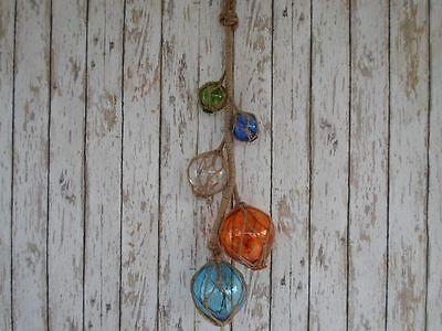 (5) Glass Fishing Floats On Rope ~ Nautical Fish Net Luau Decor
