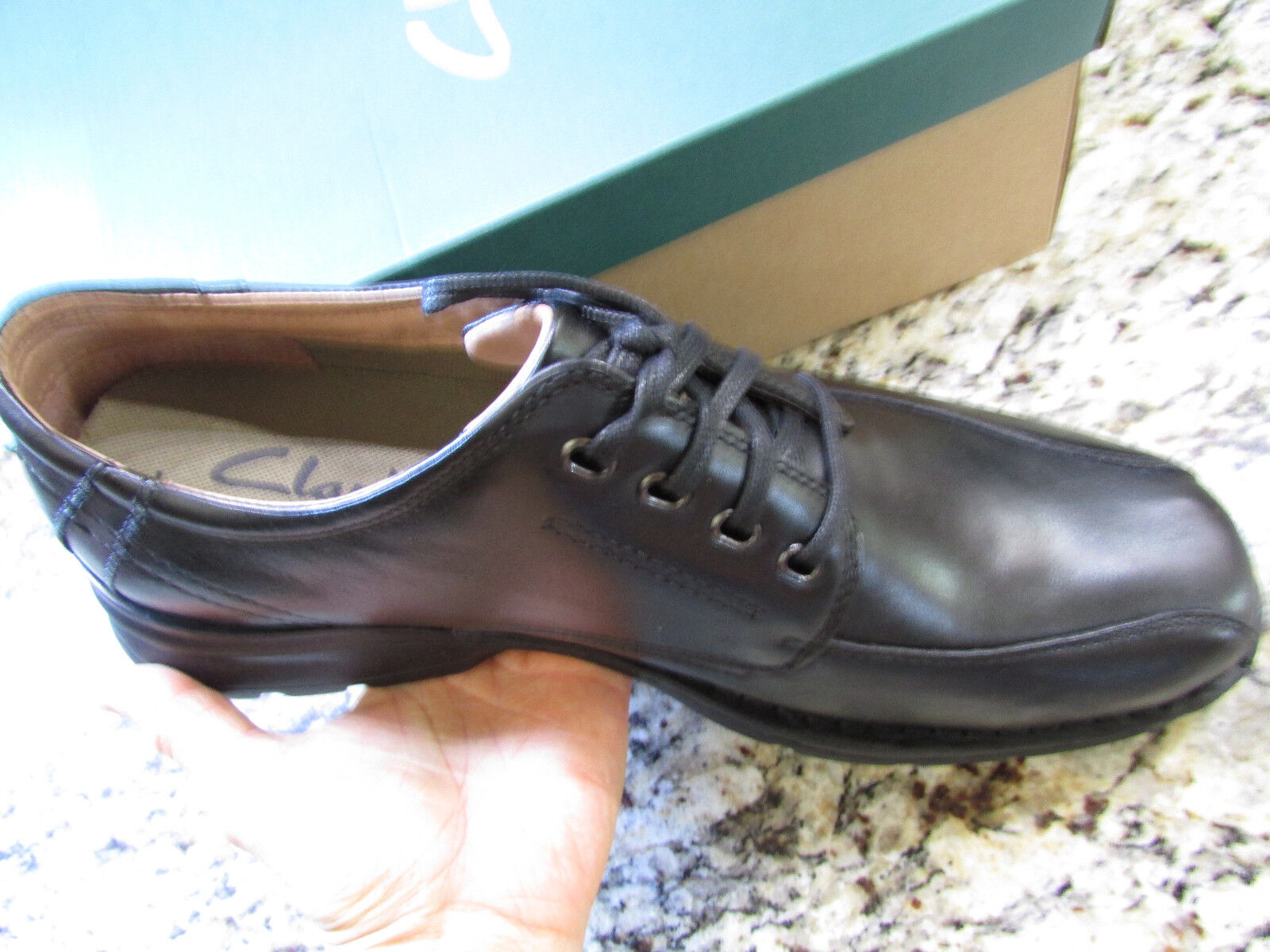NEW CLARKS RAUTINS BLACK LEATHER OXFORD SHOES MENS 13 LACE UPS FREE SHIP
