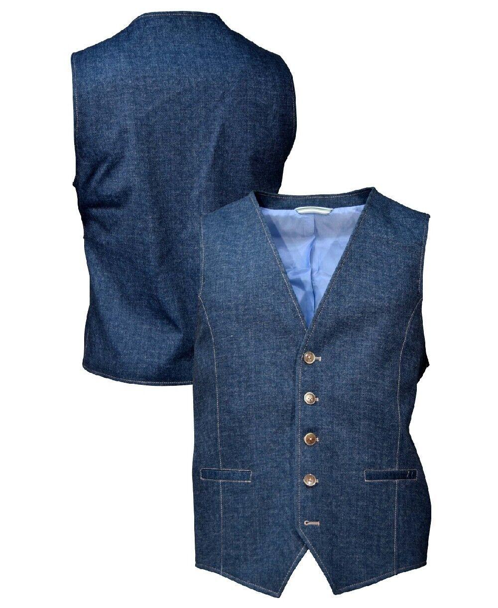 Cabano Modern Fit Stretch Anzug Weste Camouflage Print blau Gr. 50 bis 62