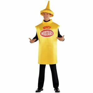 Adulte Moutarde Bouteille Costume Hotdog Aliments Et Boissons Drôle Déguisement-afficher Le Titre D'origine