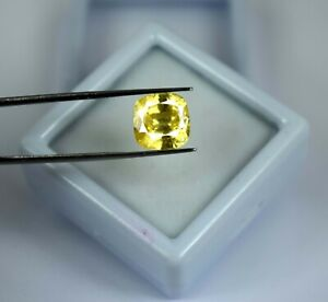 Natural Cushion 9.90 Ct Yellow Sapphire Ring Size Gemstone AGI Certified L5298