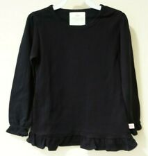 NWT Lolly Wolly Doodle Black Ruffle Hem Top Size 8-9 Great For Monogram/Applique