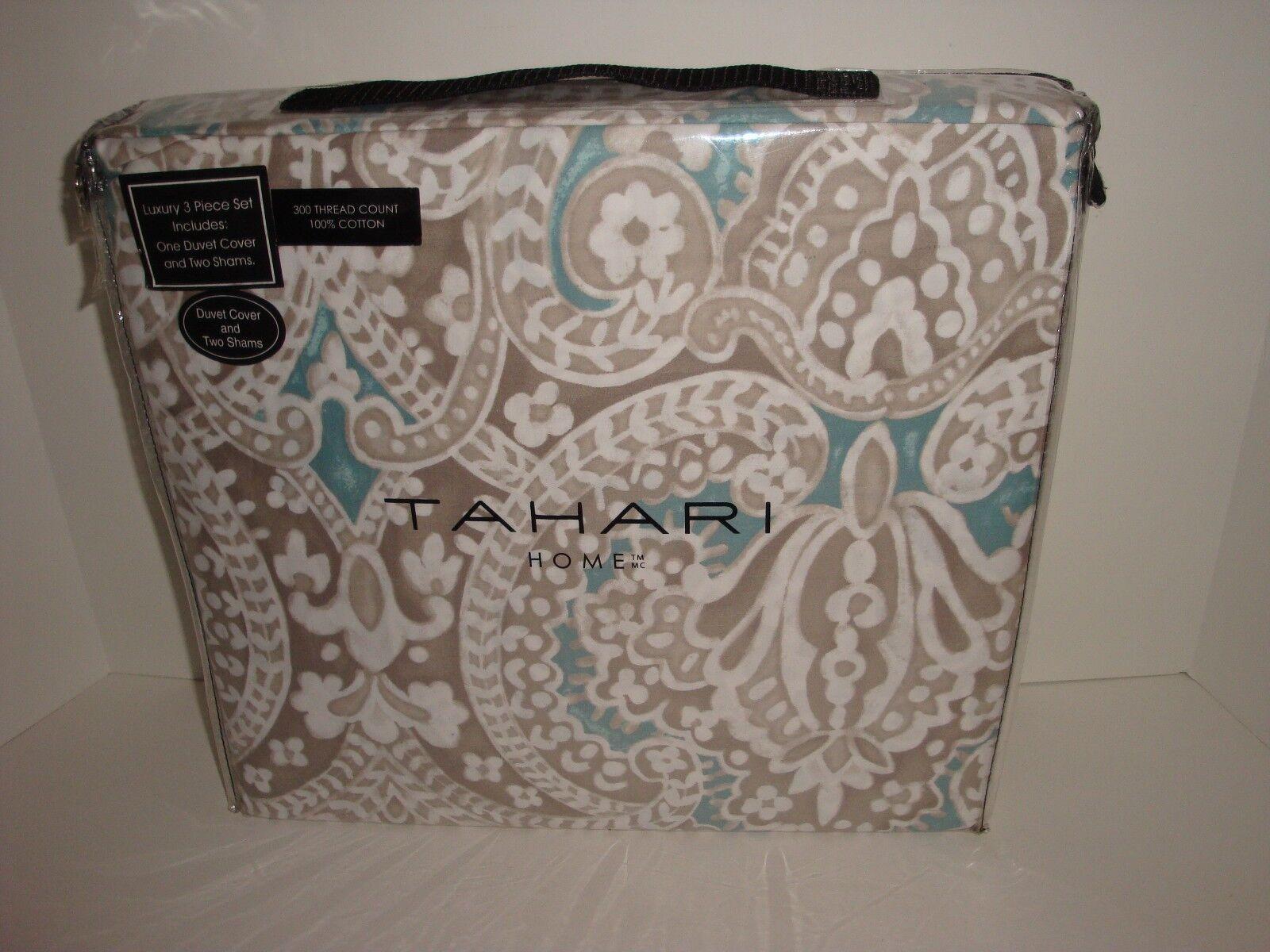 Tahari Medallion Floral King Duvet Cover Shams NIP Beige Taupe Tan Teal White