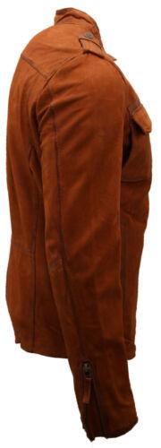 Men/'s Short Tan Retro 100/% Pelle Buff Giacca Stile Camicia