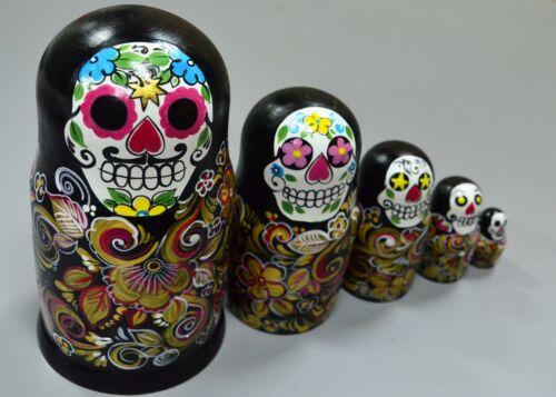 New Russian Matryoshka Babushka, Wooden nesting dolls, Skull, handmade
