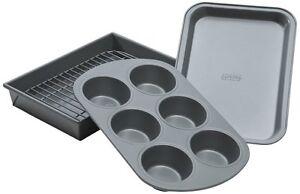 Chicago Metallic NonStick 4 Piece Toaster Oven Pan Baking Set Muffin Cookie Cake