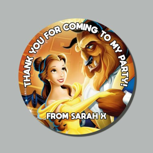37mm ! Personalised Beauty and the Beast Thanks For Coming Birthday 35 Stickers
