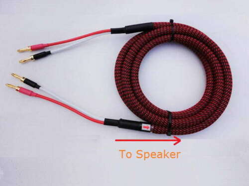 Pair HIFI Audiophile Banana Speaker Cables 4x12awg Home Audio S03 -- 2.5m 8ft