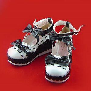 Lolita Stiefel Wedges Damen Cosplay Goth Keilabsatz Gothic schuhe Shoes Schwarz TqndgT