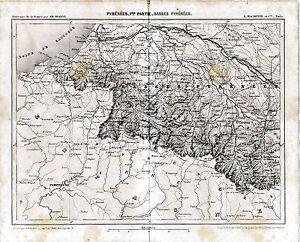 Pyrenees-Basses-1862-carte-chemin-de-fer-orig-Pau-Bayonne-Cambo-Orthez-St-Jean