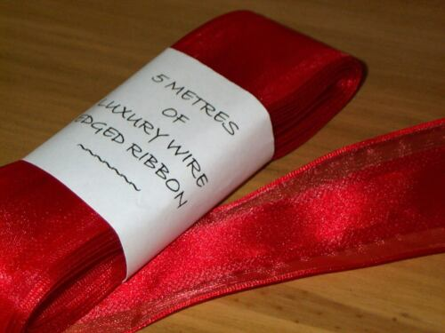 5 Metres Red Wire Edged Ribbon Width 3.8cm 1.5 in Christmas Wrapping Ref 247.