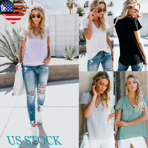 Women-Ladies-Cotton-Casual-Tops-V-Neck-Solid-Blouse-Short-Sleeve-T-Shirt-US-S-XL