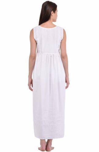 White Cotton Sleeveless Embroidered NightdressCotton Lane