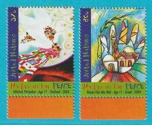 UNO-New-York-aus-2004-postfrisch-MiNr-966-967-Weltfrieden