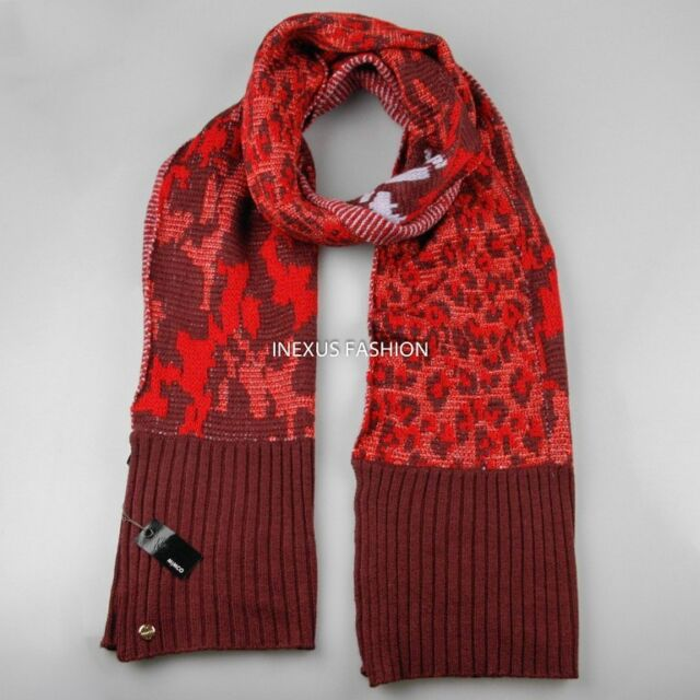 Mimco Enigma Knit Scarf Lobster Red Wool Angora Ebay