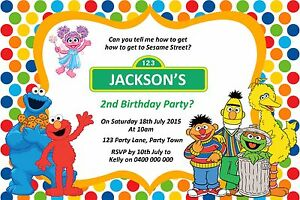 Image Is Loading Personalised Sesame Street Birthday Party Invitation You Print