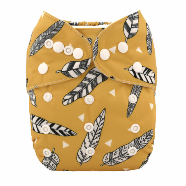 Yellow FEATHER Baby Cloth Diaper Reusable Washable Adjustable Pocket Nappy Cover