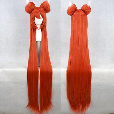 Cos Wig The Tea Of The Cat Hair Ear Split Type Orange Long Straight Cosplay Wig