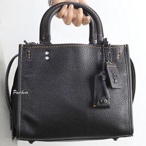 NWT-Coach-1941-Rogue-25-Pebble-Leather-Shoulder-Bag-Crossbody-54536-Black