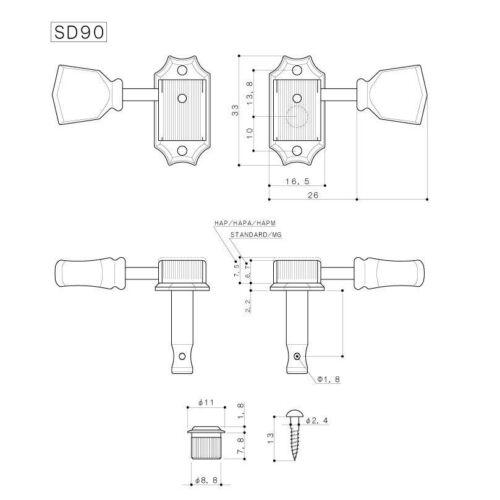 RELIC NICKEL TK-0770-007 Gotoh Japan SD90 3x3 Ivoroid Keystone Guitar Tuners