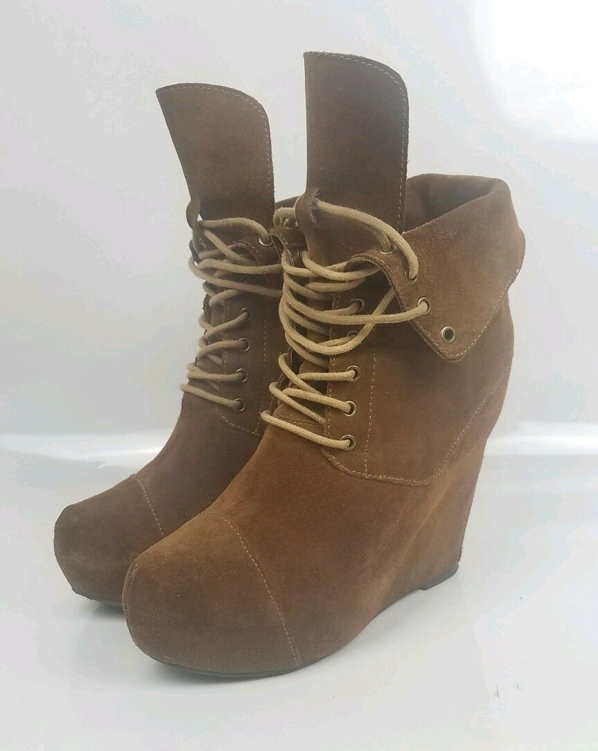 Steven by Steve Madden Suede Wedge Boots Brown Size 7.5