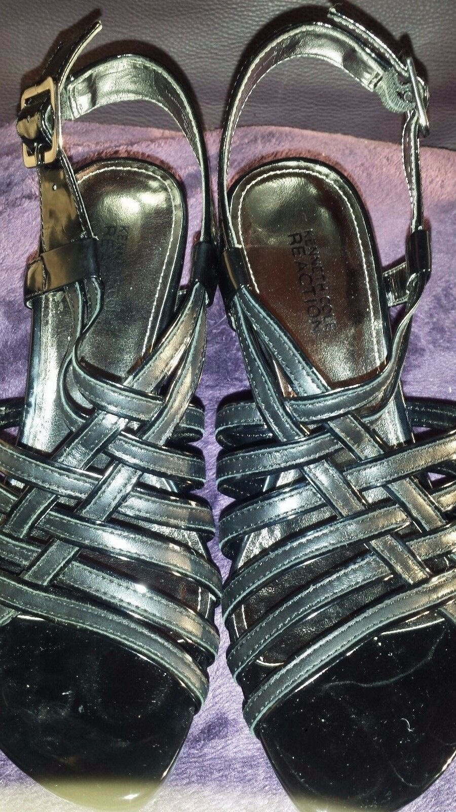 Kenneth Kenneth Kenneth Cole Reaction Dare To Wear Black High Wedge Heel Sandals Size 7 4ce882