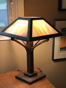 55eb8d70170b6 Antique Mission Oak Wood Slag Glass Panel Table Lamp Arts   Crafts ...